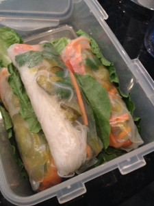 Veggie Rice Paper Rolls in Lock&Lock